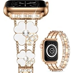 Cesicersi Compatible with Apple Watch Band 41mm 40mm 38mm Women,Luxury Bling Diamond with Clover Stainless Steel Bracelet Strap for iWatch Series 7 6 SE 5 4 3 2 1,Rose Gold/White