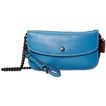COACH Glovetan Leather Clutch wu002F Chain Strap