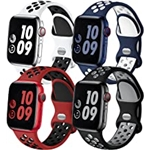Adorve Compatible with Apple Watch Band 45mm 44mm 42mm SE iWatch Series 7 6 5 4 3 2 1 for Women Men, Breathable Sport Silicone Replacement Strap, Blue White/White Black/Black Gray/