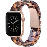 V-MORO Resin Strap Compatible with Series 7 Apple Watch Band 41mm 40mm, Women Fashion Bracelet with Stainless Steel Buckle Replacement for iWatch Series 6/5/4/3/2/1 38mm 40mm 41mm