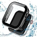 Kakurookie Straight Edge Waterproof Case Compatible with Apple Watch 40mm SE Series 6 5 4 with Tempered Glass Screen Protector, iWatch Full Protective Hard PC Bumper Case Face Cove