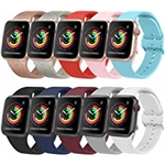 Amzpas [10 Pack] Bands Compatible with Apple Watch Bands 38mm 40mm iWatch Series 6 5 4 3 2 1 & SE for Women Men, Soft Silicone Replacement Wristbands with Adjustable Buckle (10 Pack B, Sm
