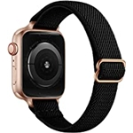 SICCIDEN Slim Stretchy Bands Compatible with Apple Watch Band 45mm 44mm 42mm 41mm 40mm 38mm, Women Elastics Nylon Thin Band Strap for iWatch SE Series 7 6 5 4 3 2 1 (Black/Rose Gol