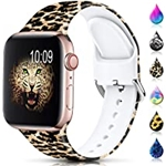 AMSKY Sport Band Compatible with Apple Watch Bands 38mm 40mm 41mm 42mm 44mm 45mm for Women Men,Floral Silicone Printed Fadeless Pattern Strap Band for iWatch Series 3, Series 5,Series 6,