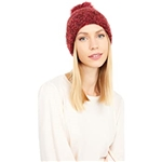 UGG Boucle Knit Cuff Hat with Faux Fur Pom