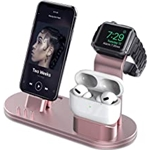 OLEBR Charging Stand Compatible with AirPods, iWatch Series 6/7/SE/5/4/3/2/1,Phone Series 13/12/12 Pro/Max/11/11 Pro/Max/Xs/X Max/XR/X/8/8Plus/7/7 P/6S/6S P(Original Cable Required
