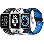 Lerobo 3 Pack Compatible for Apple Watch Band 44mm 42mm 45mm 41mm 40mm 38mm, Soft Silicone Strap Breathable Replacement Sport Bands for Apple Watch SE Series 7 6 5 4 3 2 1 Men Wome
