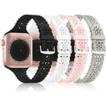 [Bandiction 4 Pack] Lace Silicone Bands Compatible with Apple Watch Band 38mm 40mm 42mm 44mm,Women Slim Thin Hollow-out iWatch Sport Wristband with Classic Clasp for iWatch Series