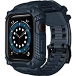Wristitani Compatible with Apple Watch Band with Shockproof Rugged Case for iWatch Series 6/SE/5/4(44mm 40mm), Waterproof TPU Sport Watch Strap with 3D Full Coverage Screen Film-6