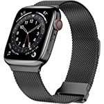 JuQBanke Magnetic Band Compatible with Apple Watch 42mm 44mm 45mm, Stainless Steel Mesh Milanese Strap with Adjustable Loop, Metal Wristband for iWatch SE Series 7 6 5 4 3 2 1 for