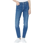 7 For All Mankind High-Waist Ankle Skinny Exposed Buttons in Stellar