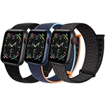Geoumy 3 Pack Sport Velcro Nylon Bands Compatible with Apple Watch 44mm 40mm 41mm 42mm 38mm 45mm, Stretchy Loop Woven Braided Soft Women Men Strap Compatible for iWatch Series 7 6
