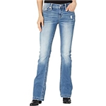 Miss Me Feather Pocket Bootcut in Medium Blue