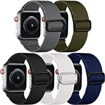 Adorve Compatible with Apple Watch Band 45mm 44mm 42mm for Men Women, 5 Pack Stretchy Solo Loop Soft Nylon Elastic Braided Sport Replacement Bands for iWatch SE Series 7 6 5 4 3 2