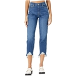 7 For All Mankind High-Waist Cropped Straight in Venus Blue Long Side Hem
