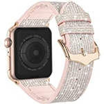 Compatible with Apple Watch Band 38mm 40mm 41mm 42mm 44mm 45mm, CTYBB Blingbling Sweatproof Genuine Leather and Silicone Band for iWatch Series 7 6 5 4 3 2 1 SE, (Glitter Silver, 3
