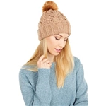 UGG Knit Cable Beanie with Faux Fur Pom