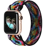 TOYOUTHS Elastic Band Compatible with Apple Watch Band Scrunchies Stretchy Solo Loop 38mm/40mm/41mm Leopard Pattern Soft Nylon Strap Replacement Wristband for iWatch Series 7/SE/6/