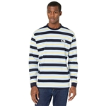 Lacoste Short Sleeve Color-Blocked Striped Tee with Badge on Left Chest
