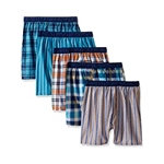 Fruit Of The Loom Woven Boxer, Covered and Uncovered Waistband (Pack of 5)