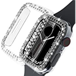 Beuxece [2 Pack] Bling Cases for Apple Watch Series 7 41mm, Rhinestones Diamond Cover for iwatch 7 ,for Women Girls, Hard PC Protective Bumper Accessories (41mm, Crystal Clear)