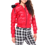 Fashion Lab ladies pu puffer jacket with faux fur lined hood