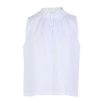 8 by YOOX LINEN SLEEVELSS PLEATED MONK-NECK TOP