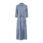 8 by YOOX COTTON BLEND BELTED CHEMISIER MIDI DRESS