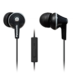 Panasonic ErgoFit In-Ear Earbuds Headphones RP-TCM125-K with Microphone and Call Controller (Black)