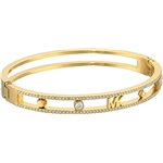 Michael Kors Womens Heritage In Full Bloom Pave Rimmed Bangle with MK Logo