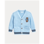 Polo Ralph Lauren Bear-Patch Cotton Cardigan