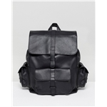 Asos ASOS DESIGN leather backpack in black with multi pockets
