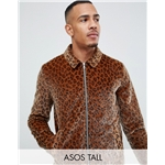 Asos ASOS DESIGN Tall zip through coach in leopard print