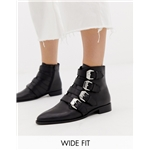 Asos ASOS DESIGN Wide Fit Alissa leather buckled boots