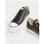 Asos Converse Chuck Taylor All Star leather platform low sneakers in black